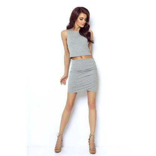 Szara Mini Spódnica Kopertowa, w 6 rozmiarach