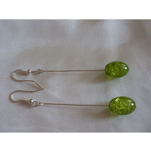 K-00085 Kolczyki z zielonymi koralikami crackle, kolor zielony