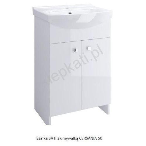 CERSANIT SATI zestaw: szafka + umywalka CERSANIA 50 cm, kolor BIAŁY POŁYSK S567-002-DSM, S567-002-DSM
