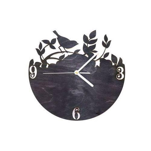 Drewniany zegar na ścianę Ptaszek na gałązce z białymi wskazówkami, kolor czarny