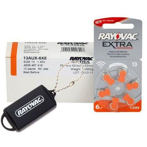 Rayovac 60 x baterie do aparatów słuchowych extra advanced 13 + zasobnik na baterie rayovac