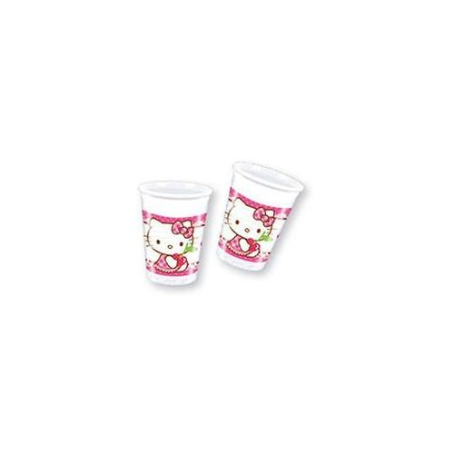 Kubeczki urodzinowe Hello Kitty Serca - 200 ml - 8 szt.