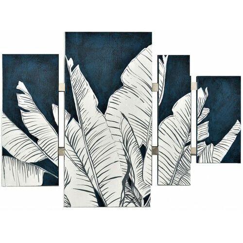 Vente-unique Obraz olejny w etnicznym stylu boya ręcznie malowany – 80 × 110 cm – kolor niebieski i biały