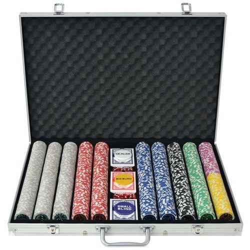zestaw do gry w pokera 1000 żetonów laserowych, aluminium marki Vidaxl