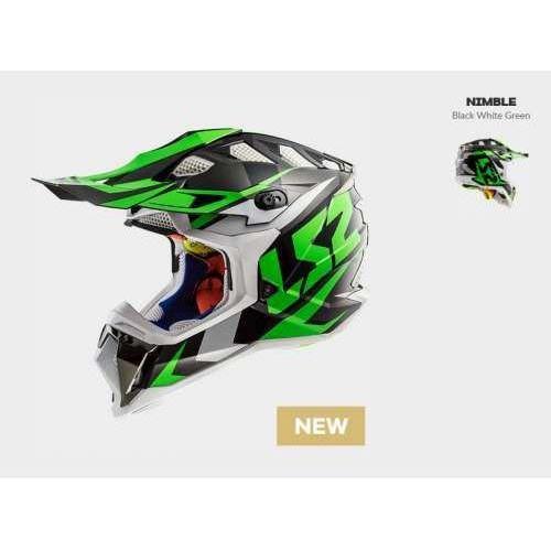 Kask mx470 subverter nimble bl/white green marki Ls2