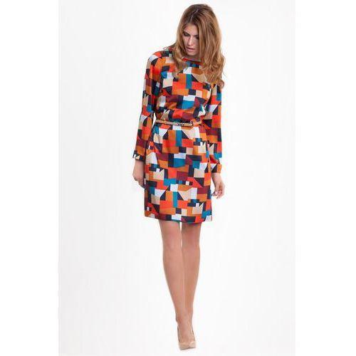 0995f46551 Wzorzysta sukienka z paskiem - L  39 ame.
