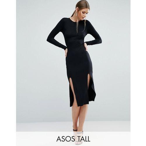 ASOS TALL Long Sleeve Midi Bodycon Dress With Curved Splits - Black, suknia, sukienka ASOS Tall