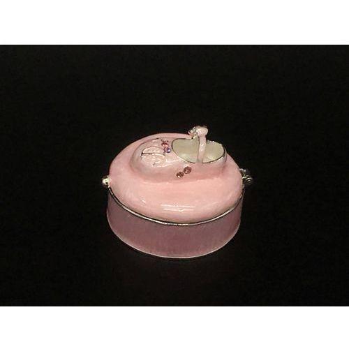 Szkatułka z bucikiem różowa - chrzest - roczek - (at09054aa) marki Veronese