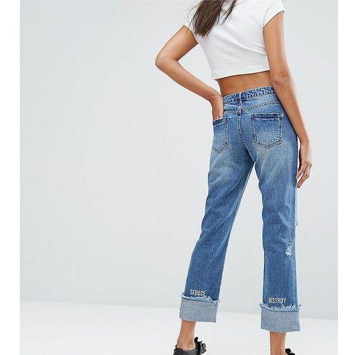 Missguided Slogan Hem Boyfriend Jeans - Blue, jeans