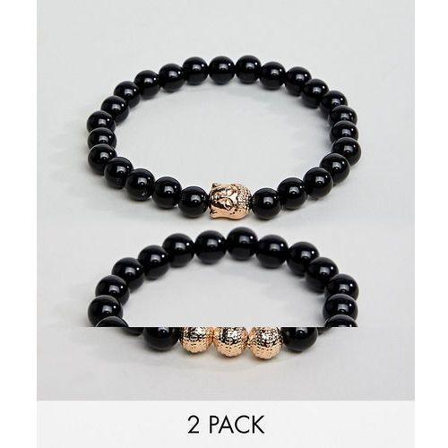 ALDO black & gold beaded bracelet in 2 pack - Black, kolor czarny
