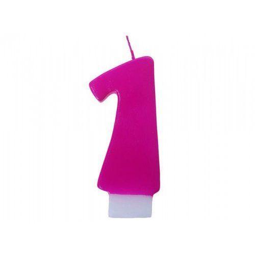 Świeczka urodzinowa: cyferka różowa: 1 marki Party world