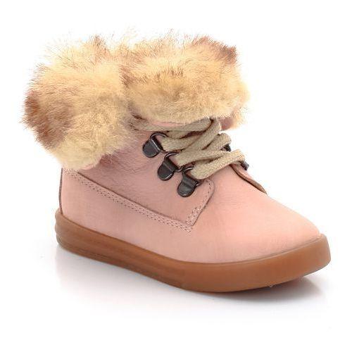 R baby Wysokie sznurowane buty ze skóry, wyściełane sztucznym futerkiem