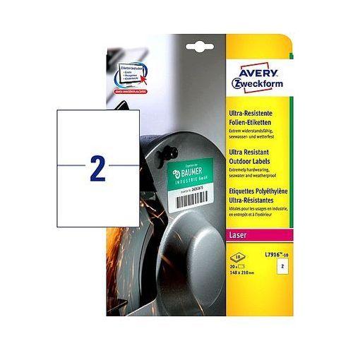Etykiety avery ultra resistant 210x148mm polietylenowe białe l7916-10, 10ark. a4 marki Avery zweckform
