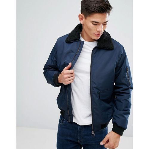 detachable borg collar flight jacket - navy marki D-struct