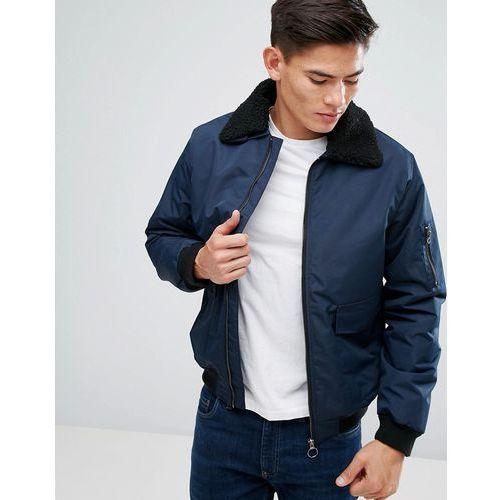 detachable borg collar flight jacket - navy marki D-struct