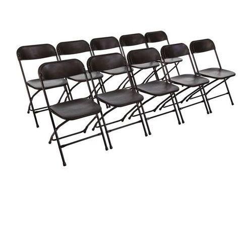 Krzesła składane czarne | 10 szt. | 44x48x(H)80cm, kolor biały