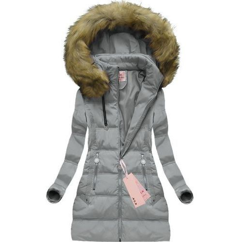 Pikowana kurtka z kapturem szara (xw716x) - szary, Mhm, 36-44
