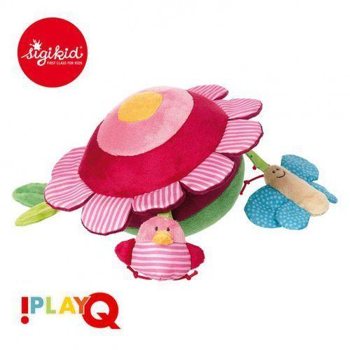 aktywizująca miękka piłka z wypustkami owady na łące z grzechotką i szeleszczącą folią 3m+ playq marki Sigikid