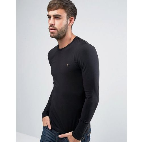 southall super slim fit logo long sleeve t-shirt in black - black, Farah, XS-XXL