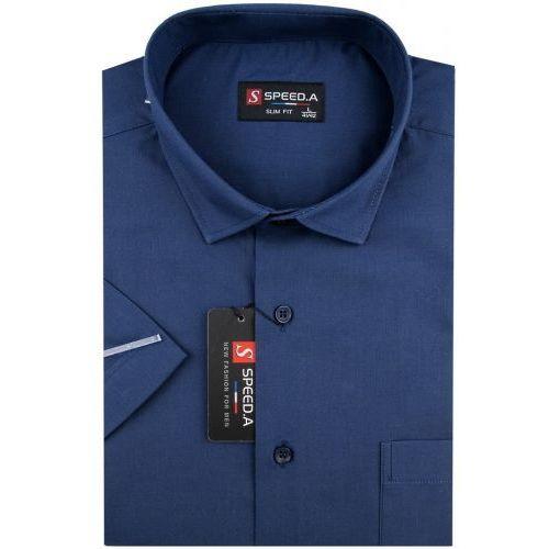 Koszula męska gładka granatowa slim fit na krótki rękaw k681 marki Speed.a