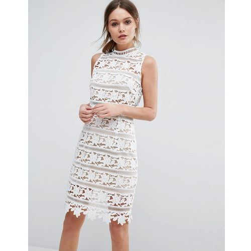 New Look Premium Cutwork Lace High Neck Dress - White