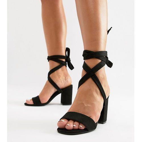 Park lane Parklane wide fit tie leg block heeled sandals - black