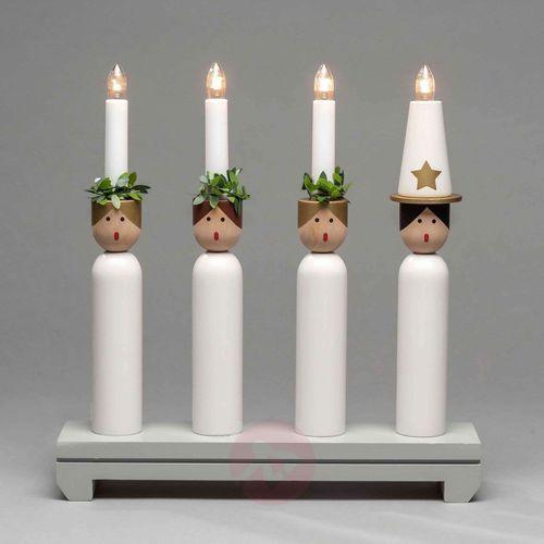 Świecznik lucia z drewna, 4-punktowy marki Konstmide christmas