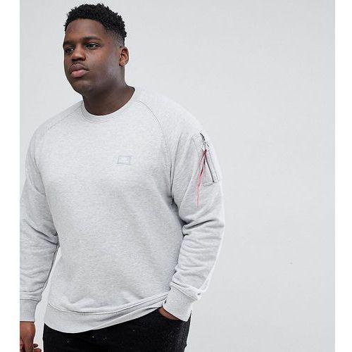 Alpha Industries PLUS X-Fit Tab Sleeve Crewneck Sweatshirt in Grey Marl - Grey, 1 rozmiar