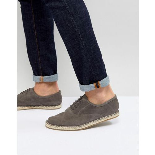 lace up espadrilles in grey suede - grey, Frank wright