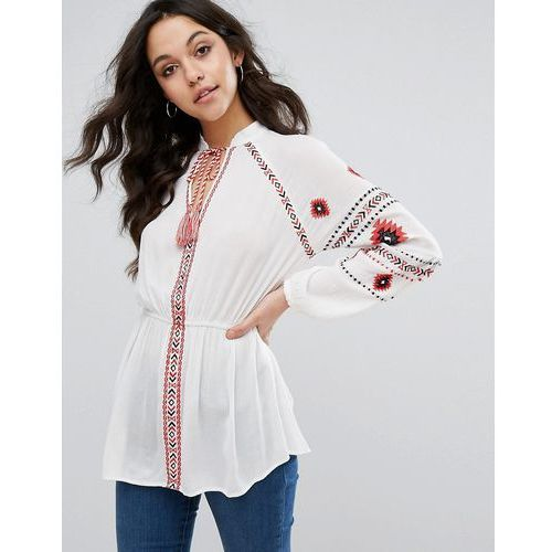 River Island Boho Embroidered Tassel Long Sleeve Top - White
