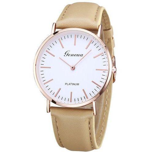 Zegarek Geneva biała tarcza beżowy - beige rose gold