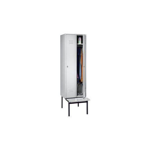 Szafka na ubrania z ławeczką u dołu,pełne drzwi, szer. przedziału 300 mm, 2 przedziały