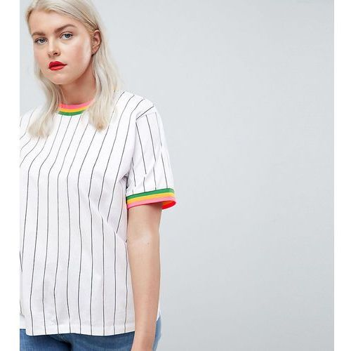 Asos design curve t-shirt in vertical stripe with bright stripe tipping - multi, Asos curve