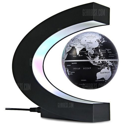 C Shape Magnetic Levitation Floating Globe World Map with LED Light Decoration for Home Office ()