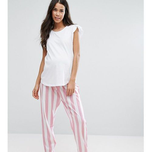 Asos maternity  pyjama set with striped bottoms and ruffle shoulder - multi