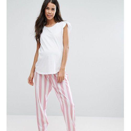 pyjama set with striped bottoms and ruffle shoulder - multi marki Asos maternity