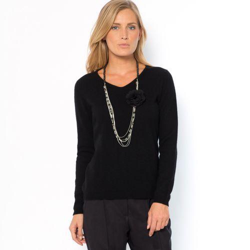 Sweter z dekoltem w kształcie litery V, wykonany z czystego kaszmiru, kaszmir