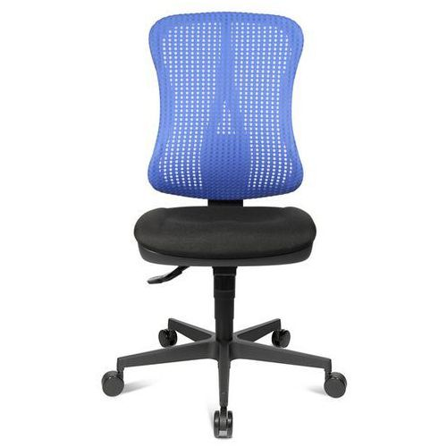 Krzesło obrotowe z podporą lędźwi, siedzisko nieckowe, bez poręczy, siedzisko cz marki Topstar