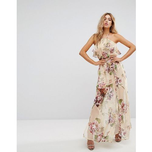 Boohoo Halterneck Maxi Dress In Floral - Red, kolor czerwony