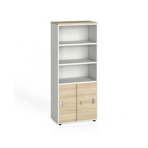 Szafa biurowa, przesuwne drzwi na 2 półki, 1781x800x420 mm, biały / dąb naturalny - produkt z kategorii- Szafy i witryny