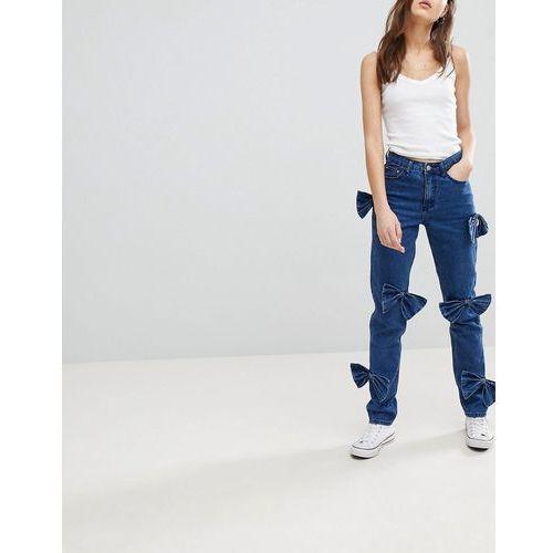 Glamorous Mom Jeans With Bow Details - Blue, kolor niebieski