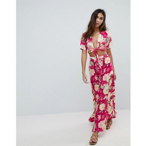 Boohoo floral beach maxi skirt - multi