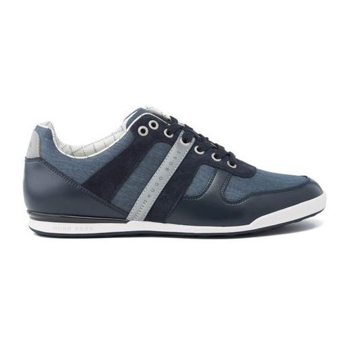 Boss green  men's arkansas nylon chambray trainers - dark blue - uk 7
