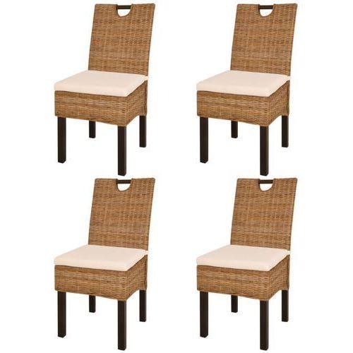 Krzesła do jadalni z Kubu rattanu, drewno mangowe, 4 sztuki