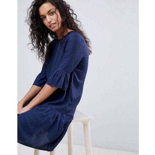 fluted sleeve drop hem mini dress in navy - navy, Y.a.s, 34-40