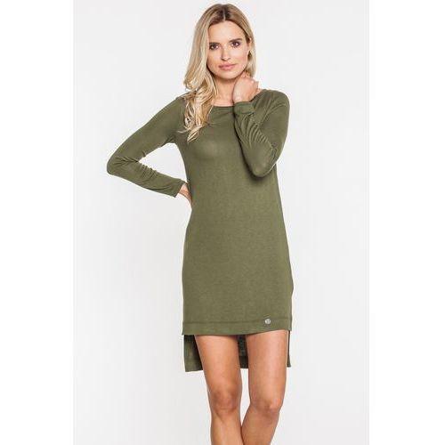 Sukienka khaki z dłuższym tyłem - Ennywear, kolor zielony