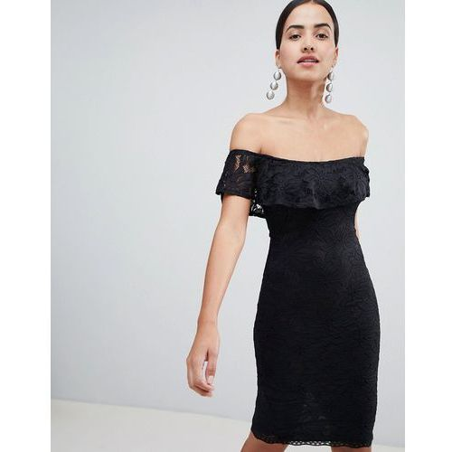 Ax paris bardot frill overlay lace midi dress - black