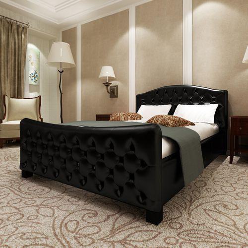 Vidaxl  czarne łóżko fala z wysokiej jakości sztucznej skóry+materac 140x200cm