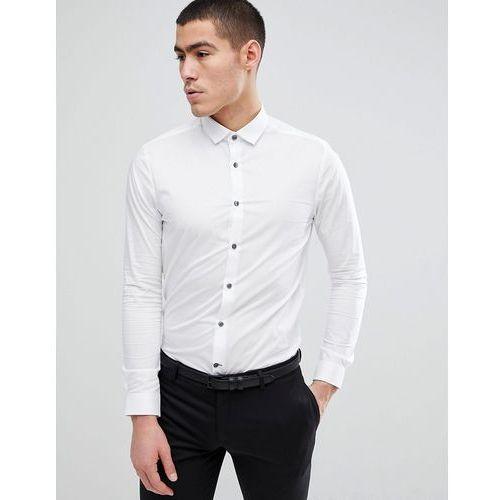 Burton Menswear Skinny Fit Long Sleeve Shirt In White - White, w 4 rozmiarach