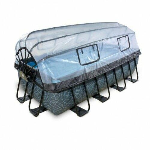 Basen stone szary prostokątny 400 x 200 cm składany dach drabinka pompa filtrująca marki Exit